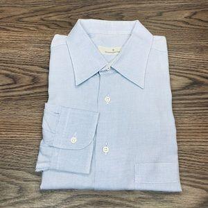 Ermenegildo Zegna White & Blue Check Shirt 17.5